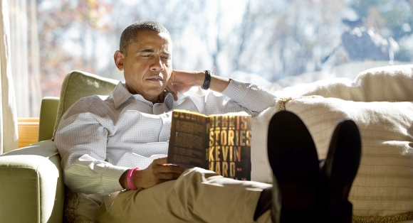 Obama Reading Debris