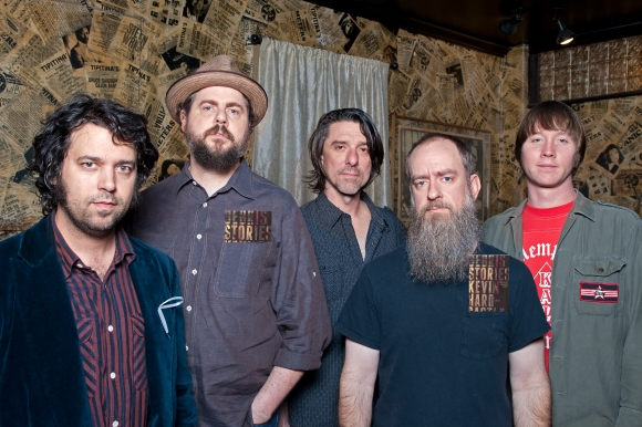 (L-R) Jay Gonzalez, Patterson Hood, Mike Cooley, Brad Morgan and Matt Patton of Drive-By Truckers at Tipitina's on January 27, 2013, in New Orleans, LA. (Erika Goldring Photo)